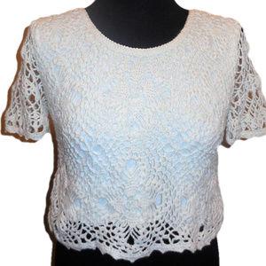 Sweater MEDIUM Crochet Pullover White Cotton #q